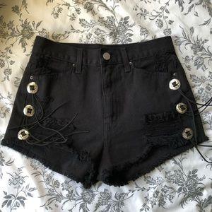 Nasty gal high waisted black denim shorts